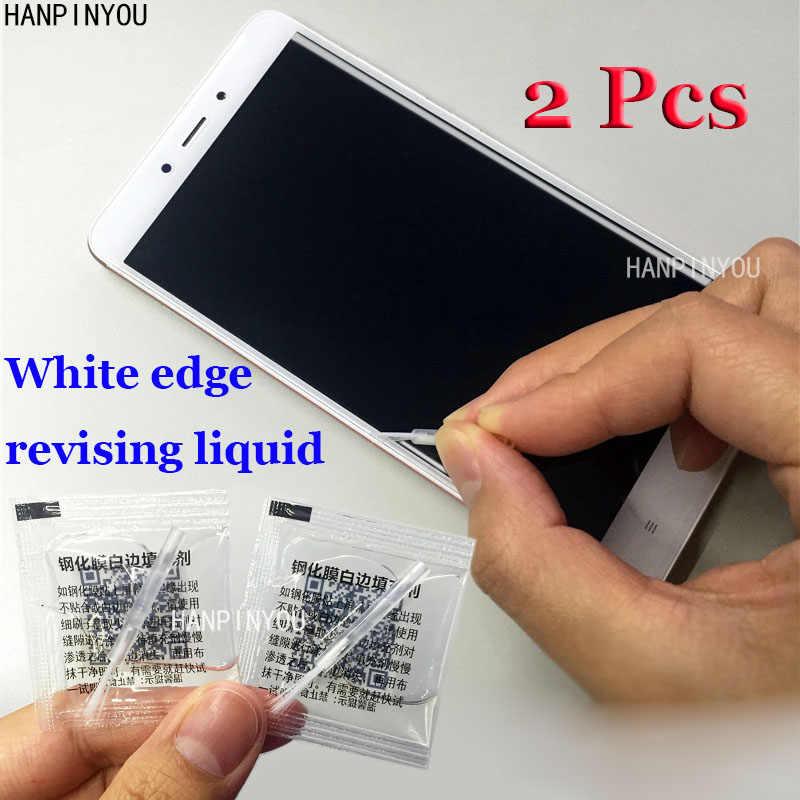 2 шт./лот закаленное стекло белый край корректирующая жидкость с щёткой Белый