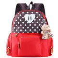 Boys Girls Fashion Canvas Backpacks Kids School Bags Cute Bear Doll Hanging Ring Kindergarten Bag Children Shoulder Bag