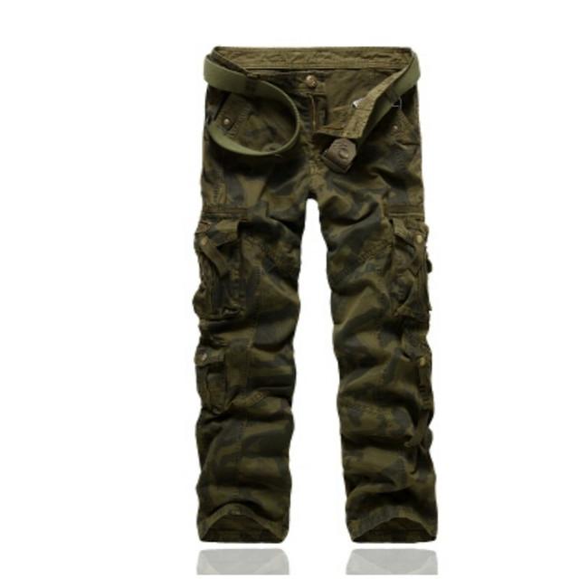 2016 Hombres Libres del envío de Algodón de Combate Multi-bolsillos Utility Flojo Ocasional Largo Encuadre de cuerpo Entero Pantalones de Carga de Trabajo Pantalones camuflaje