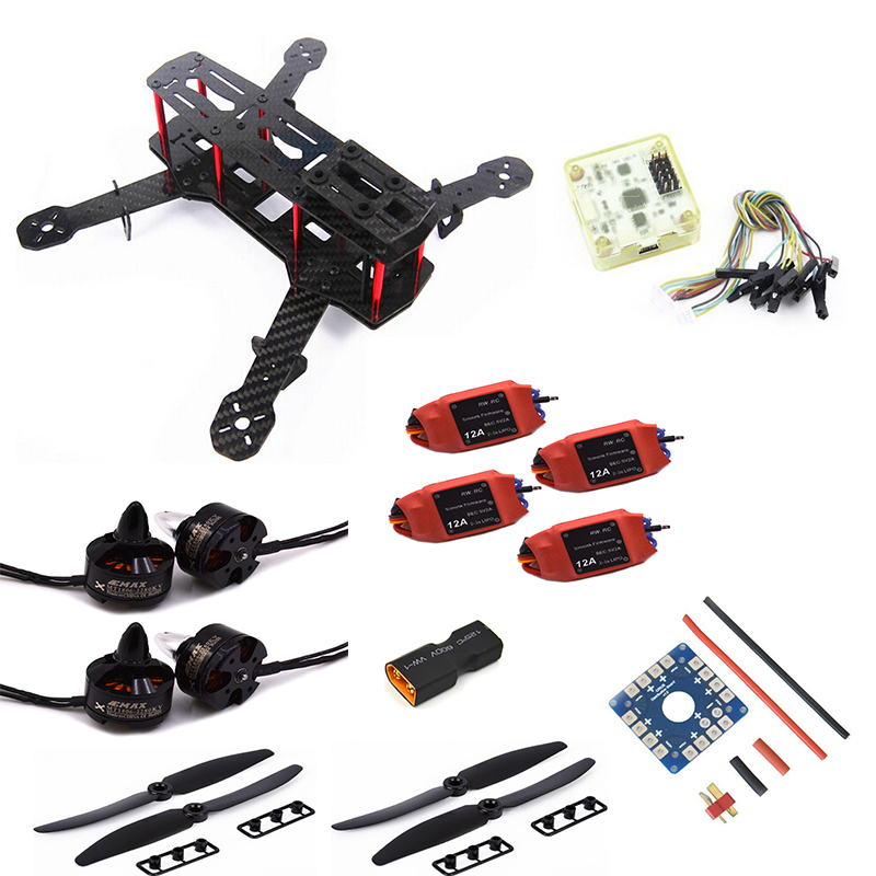 Carbon Fiber Mini QAV250 C250 Quadcopter 1806 2280KV Motor 12A Esc Flight Control Prop mini zmr250 carbon fiber quadcopter cc3d evo control mt2204 2300kv motor emax blheli firmware 20a esc 5045 prop led lights board