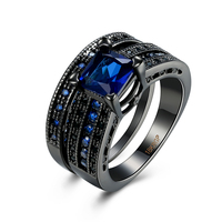 Tuker Double Vintage Men Ring With Black Blue Colors Stone Fashion Engagement Ring For Women