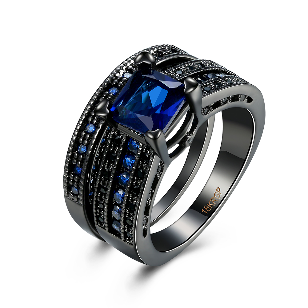 Tuker Double Vintage Men Ring With BlackBlue Colors Stone