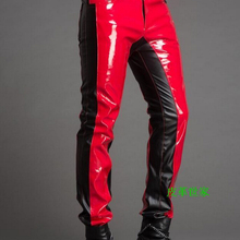 29-39 ! Men's New Stage Trousers Dj Color Block Fashion Personality Slim Leather Pants Male Singer Motorcycle Costumes