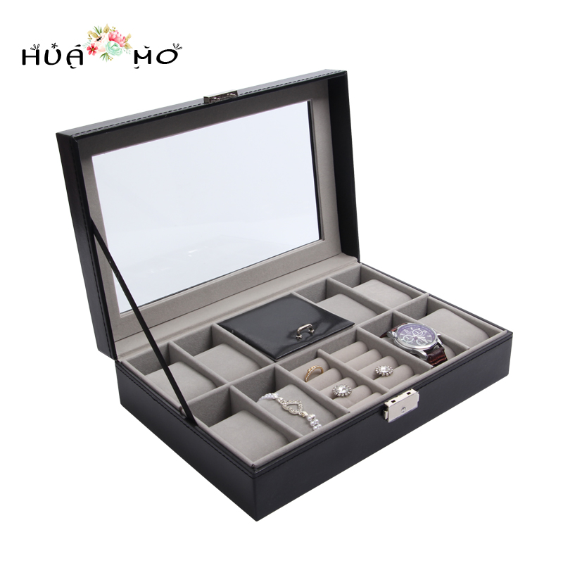 Jewelry Glasses Watches Organizer Watch Gift Box Leather Watch Display Box Jewelry Packaging & Display Accessories Supplies Gear ebaycoco luxurious red jewelry accessories packaging black red matte 10table box jewelry box fashion display full box watch