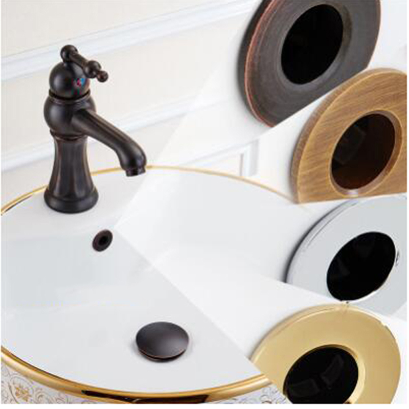 Creative Vintage Brass Basin Overflow Hole Cover Washbasin Decorative Cover Wash Table Plug Bathroom Hardware Accessories