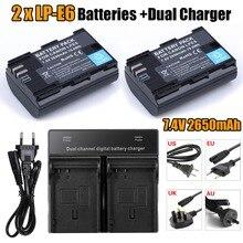 [ HI-BTY ] 2 * fullcode LP-E6 LPE6 batería + cargador doble Fo Canon 5D MarkII / III 7D / 60D EOS 6D envío gratis