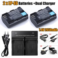 HI BTY 2 Fullcode LP E6 LPE6 Battery Dual Charger Fo Canon 5D MarkII III