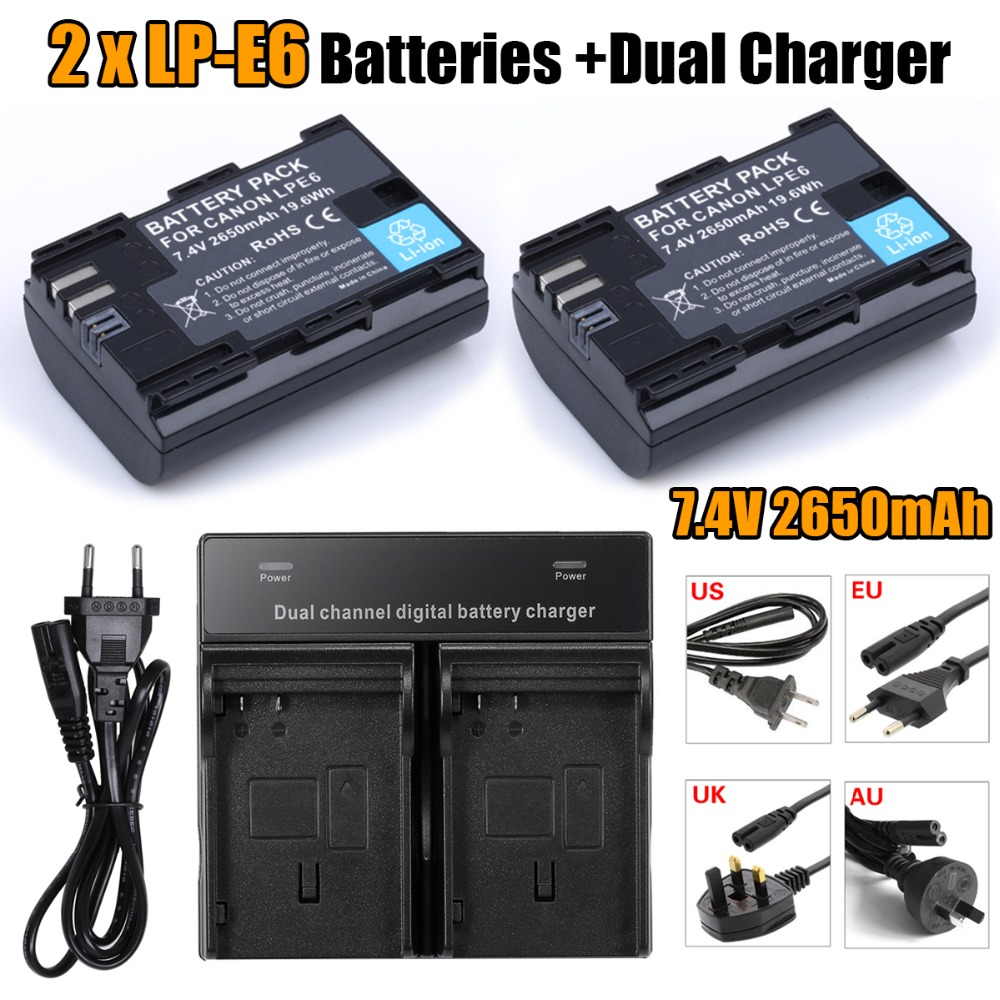 2* fullcode LP-E6 LPE6 Battery Batteries Batteria AKKU + Dual Charger For Canon EOS 5DS R 5D Mark II III 6D 7D 60D 60Da 70D 80D