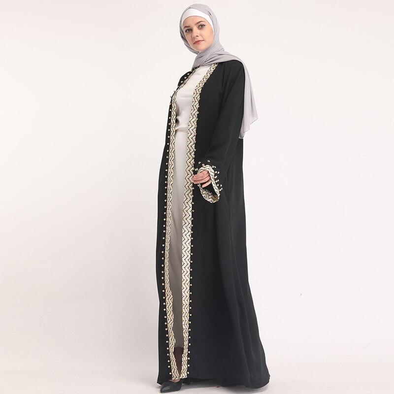 HOT PROMO) 2019 Black Kaftan Abaya Dubai Turkey Robe