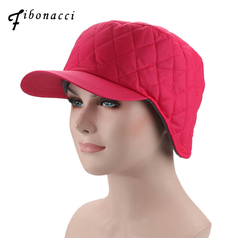Fibonacci 2018 New men's women's winter hat windproof windbreaker fabric warm ear protection plus velvet thick baseball cap