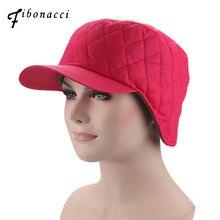 Fibonacci 2018 novo chapéu de inverno feminino à prova de vento blusão tecido proteção de ouvido quente mais veludo grosso boné de beisebol
