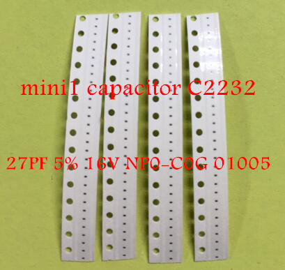 10pcs/lot for ipad mini 1 <font><b>capacitors</b></font> C2232 27PF 5% 16V NP0-C0G <font><b>01005</b></font> image