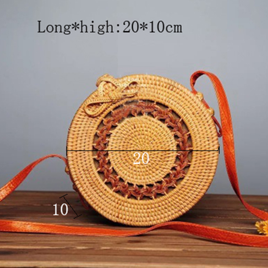Handarbeit Gewebt Rattan Tasche Frauen Stroh Tasche Bambus Rund