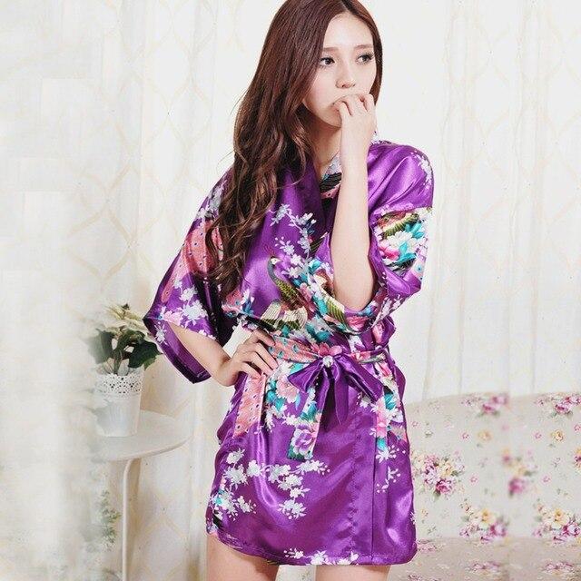 Robes De Seda Para Damas de Honra Do Vestido de Casamento das mulheres Robe Sexy Camisola Pijamas Camisola Kimono Floral Roupão De Cetim Real