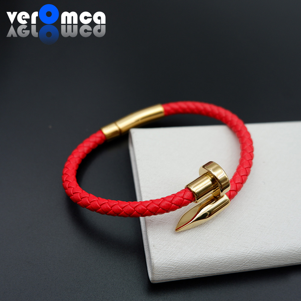 VEROMCA Stainless Steel Snap Clasp Genuine Leather Nail Bracelet Trendy Fashion Color Style Optional Leather Braided Bracelet