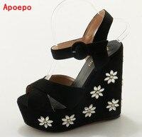 Hot Selling Sweet Flower Beaded Embellished Wedge Platform Sandal Peep Toe Rope Braided Summer Wedge Sandals