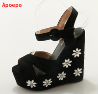 Hot Selling Sweet Flower Beaded Embellished Wedge Platform Sandal Peep Toe Rope Braided Summer Wedge Sandals