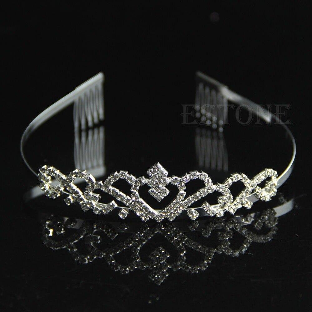 Bridal Sisir Tiara Berlian Imitasi Kristal Crown Pageant Princess Ikat Rambut Anak Ariees Headband Perak