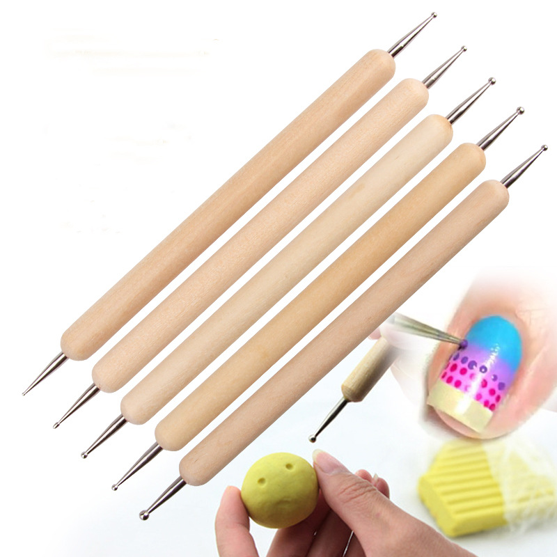 5 x 2 Way Wooden Dotting Pen Double Ended Tools ballpoint kit Marbleizing nail art dot Manicure Tools Kit Nail Dotting Tools