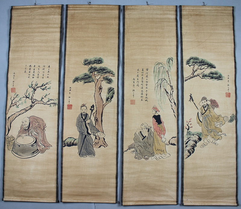 The old China scrolls of calligraphy and painting poetry his