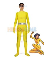 Alex Yellow Costume Spandex halloween cosplay Totally Spies Superhero costume hot sale show zentai suit free shipping