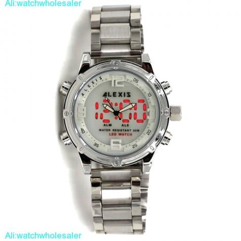 AW802B Date LED BackLight Water Resist Men Dual Time Alexis Analog Digital Watch