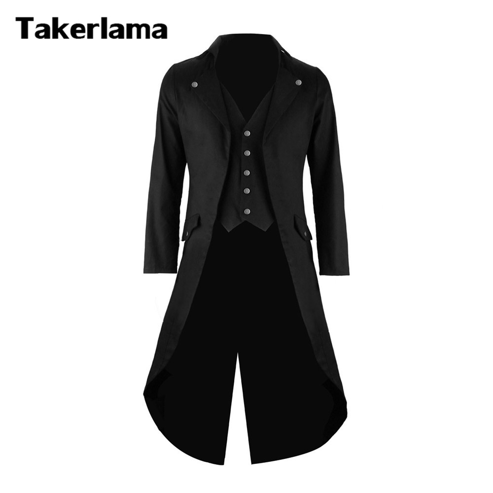 Takerlama Mens Gothic Tailcoat Jacket Steampunk Trench Cosplay Costume Victorian Coat Black Men s Long Tuxedo