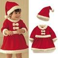 2 pcs meninas do bebê bebe criança natal papai noel xmas de santa red dress + hat outfit traje roupas 0-18 meses de natal