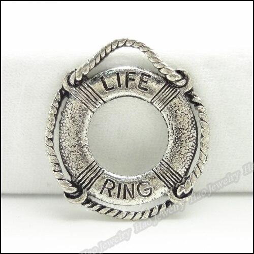 65781a586100 50 unids vendimia Amuletos Lifebuoy colgante plata antigua fit collar de  las pulseras DIY metal fabricación de joyas