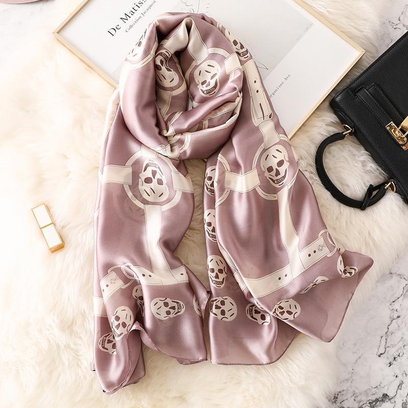 2019 Spain Luxury Brand Skull Pure Silk   Scarf   Ladies Fashion Shawls and   Wraps   Bandana Pashmina Summer Beach Hijab Snood 180*90Cm