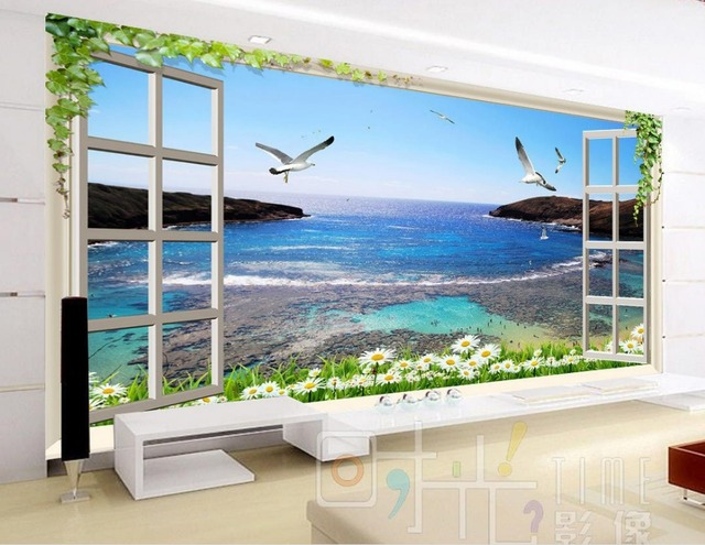 Fesselnd Benutzerdefinierte 3d Wallpaper Fenster Blume Meer Kulisse Dekorative Malerei  Bad 3d Tapeten Moderne Tapete