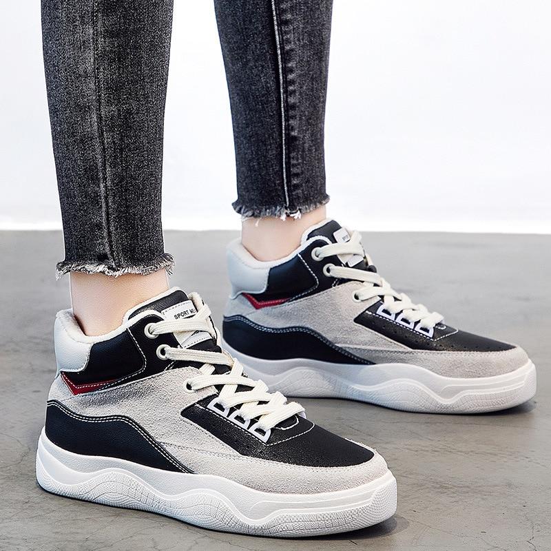 Épais Peluche Sneakers Printemps Femme Femmes Véritable Dentelle noir Haute Chaussures Cuir Beige Casual Coréenne supérieure De Hiver En Fond qxRa5aWO7p
