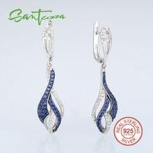 Pendientes de Gota de plata para Las Mujeres Pera Piedra Azul y Blanco CZ Diamond Mujeres Pendientes 925 Joyería de Plata Pura