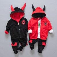 Autumn Children Boys Girls Fashion Suit Kids HoodiesT Shirt Pants 3Pcs Sets Baby Pure Cotton Originality