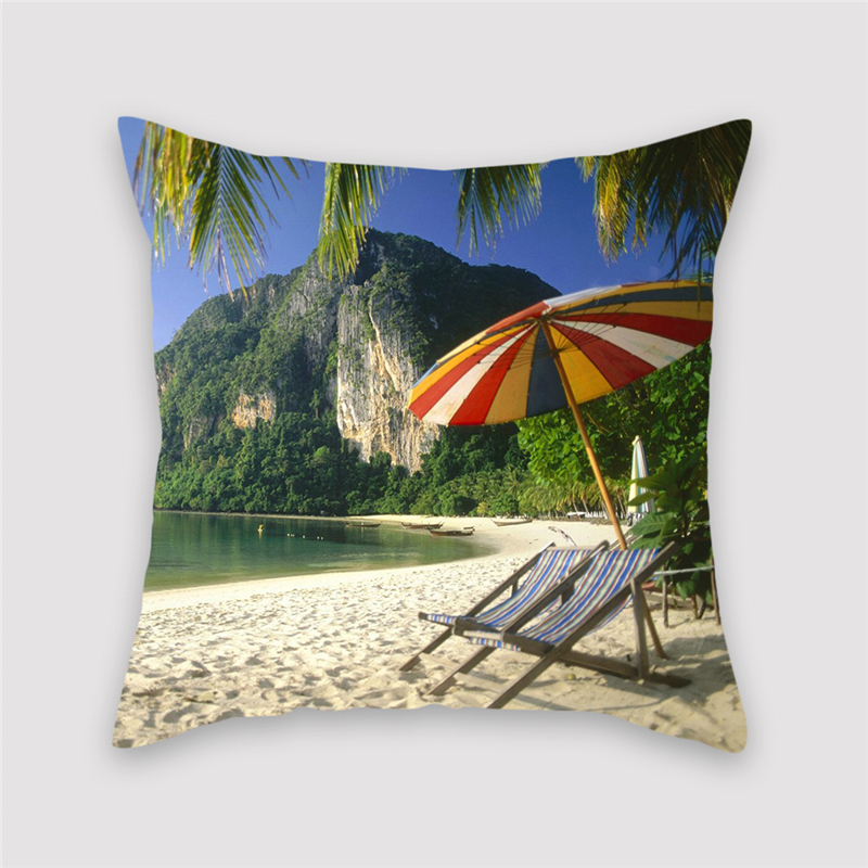 Fuwatacchi Scenic Style Cushion Cover Castle Moutain Pyramid Printed Pillow Cover Buddha Statue Decorative Pillows For Sofa Car in Cushion Cover from Home Garden