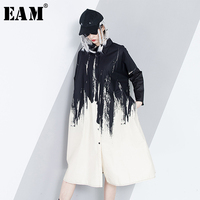 EAM New Spring Lapel Long Sleeve Black Pattern Printed Split Joint Hit Color Big Size