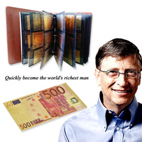 90pcs World Gold Fake Banknotes with Quality Leather Album Banknotes Replica Money Kazakhstan Russian Euro Saudi Arabia Gift
