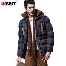 LKBEST 2017 Winter men's jacket cotton Hooded warm winter coats men fashion long men parka thick overcoat brand clothing (PW611)