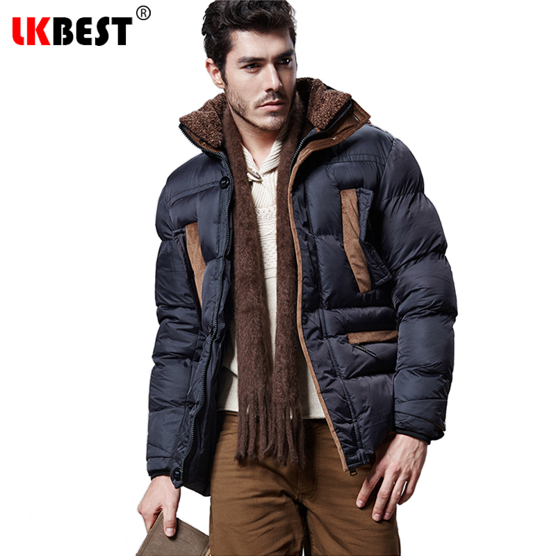 ФОТО LKBEST 2017 Winter men's jacket cotton Hooded warm winter coats men fashion long men parka thick overcoat brand clothing (PW611)