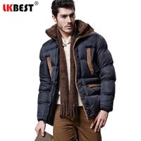 LKBEST Thicken Winter coat men Padded Hooded men parka Cotton Winter jacket men Keep warm long overcoat outwear brand clothing