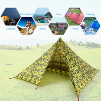 Ultralight 2 Person Tent Waterproof Outdoor Camping Tent Tarp Sun Awning+Camping Cot Portable Backpacking Tent Silicone Coating