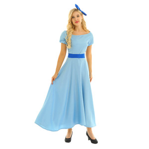 Image 2 - Women Halloween Cosplay Costume Wendy Dress Boat Neck Short Puff Sleeves Princess Party Fancy Maxi Dress with Headwear and Belt