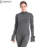 LERFEY Womens Long Sleeve Tops Clothing Autumn Flare Sleeve Tee Shirt Grey Marled Crisscross Hollow Out