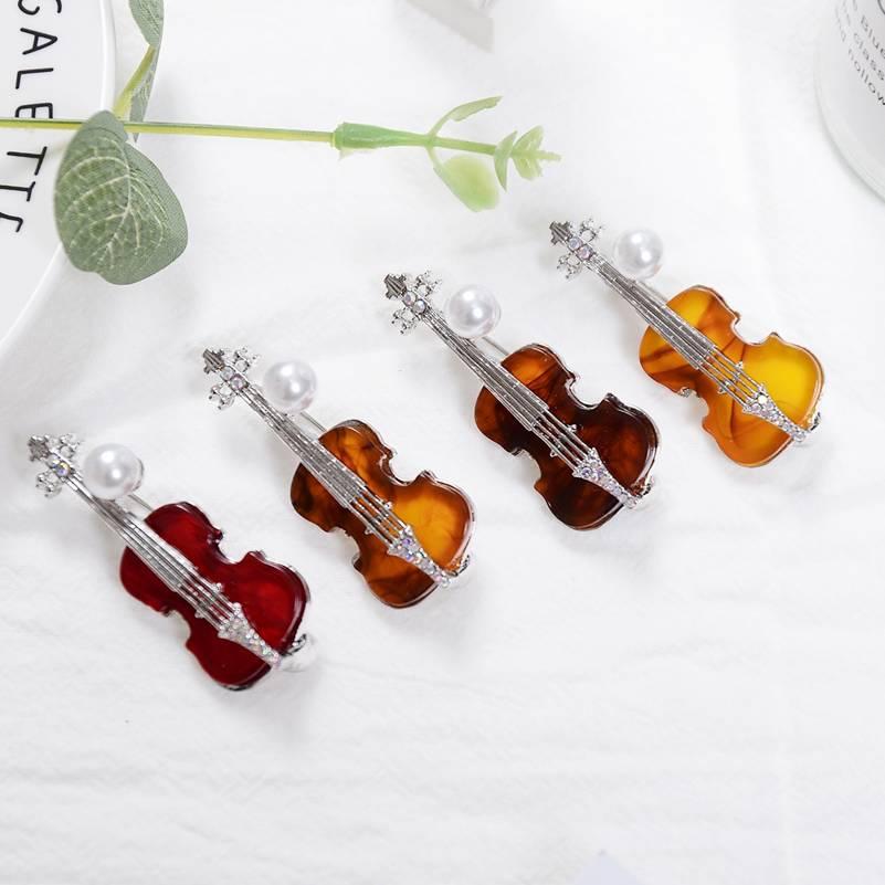 Silver Violin Lapel Pin Badge Music Instrument Musical Musician Viola Badges New