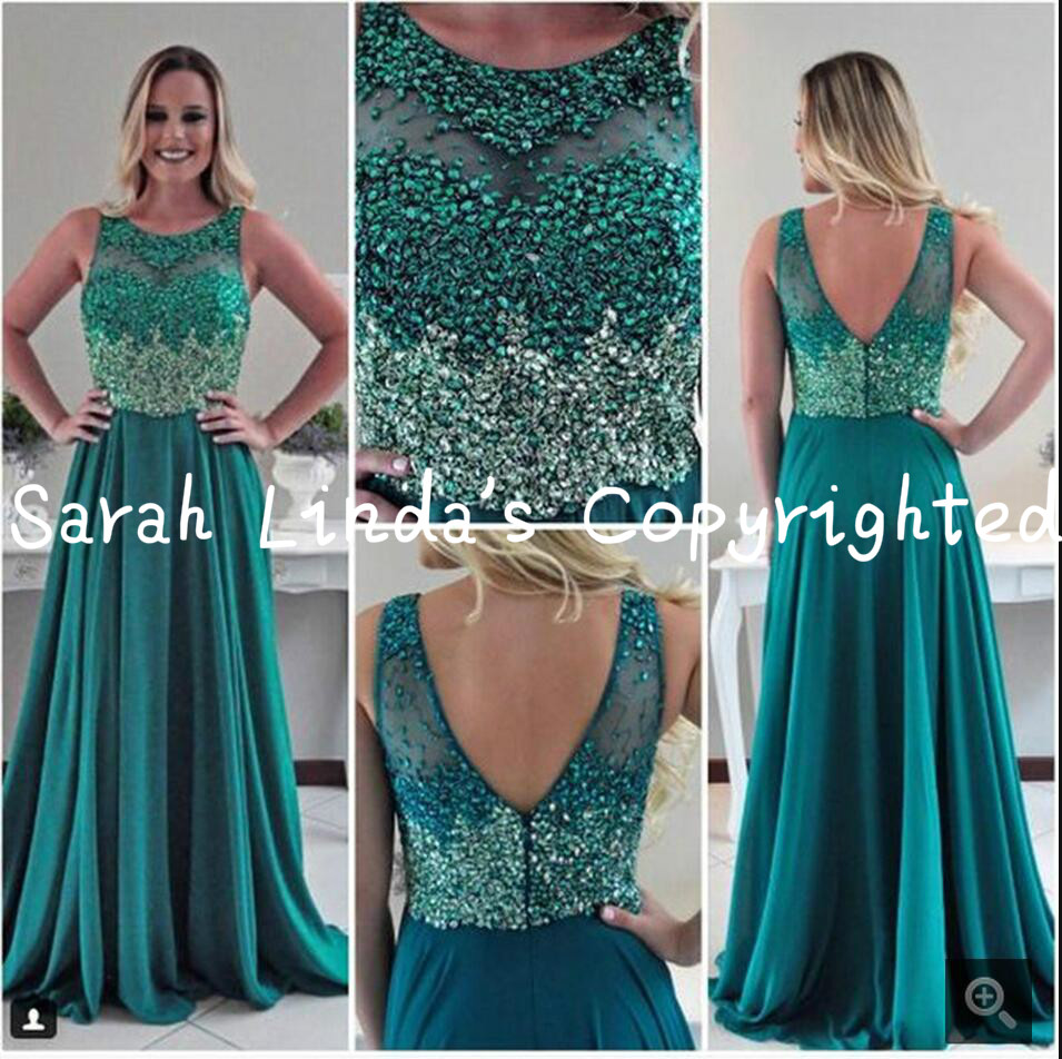2016 free shipping chiffon a line beaded   Prom     Dresses   sheer back sexy scoop neckline formal   prom   gowns hot sale