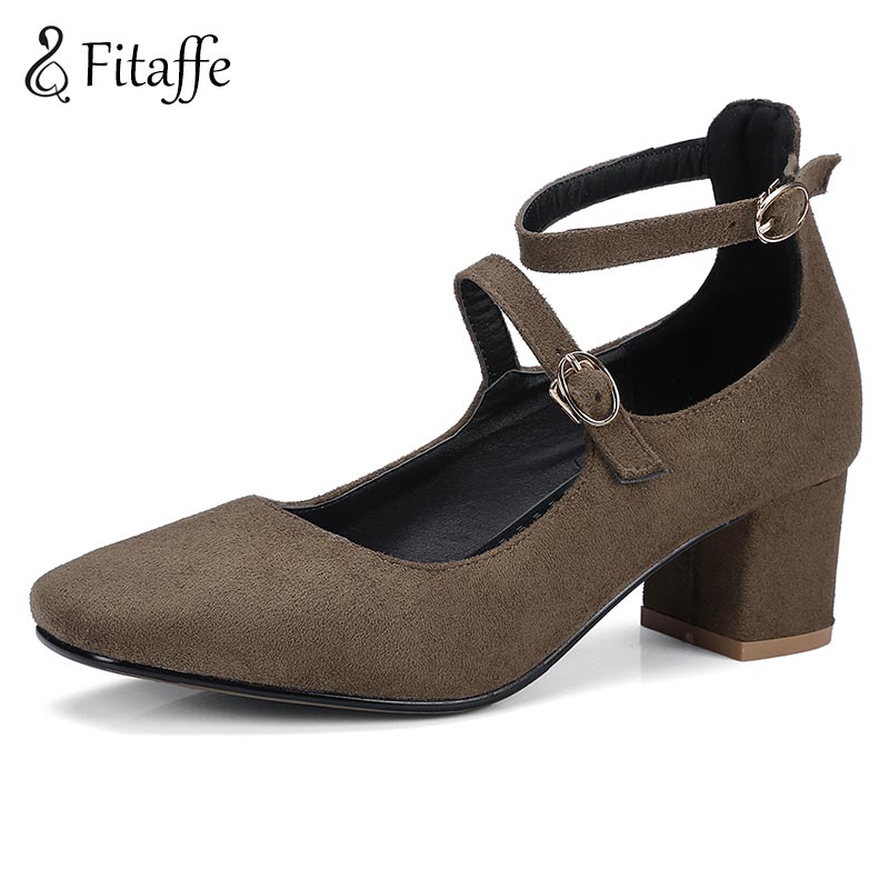 FITAFFE Chunky Woman Shoes Spring Autumn Metal Buckle Women Pumps Big Size 30~48 Comfortable Med Thick Heels Zapatos Mujer AI109 free shipping 2016 spring autumn new increased internal woman shoes elastic band med heels pumps black red white woman shoes