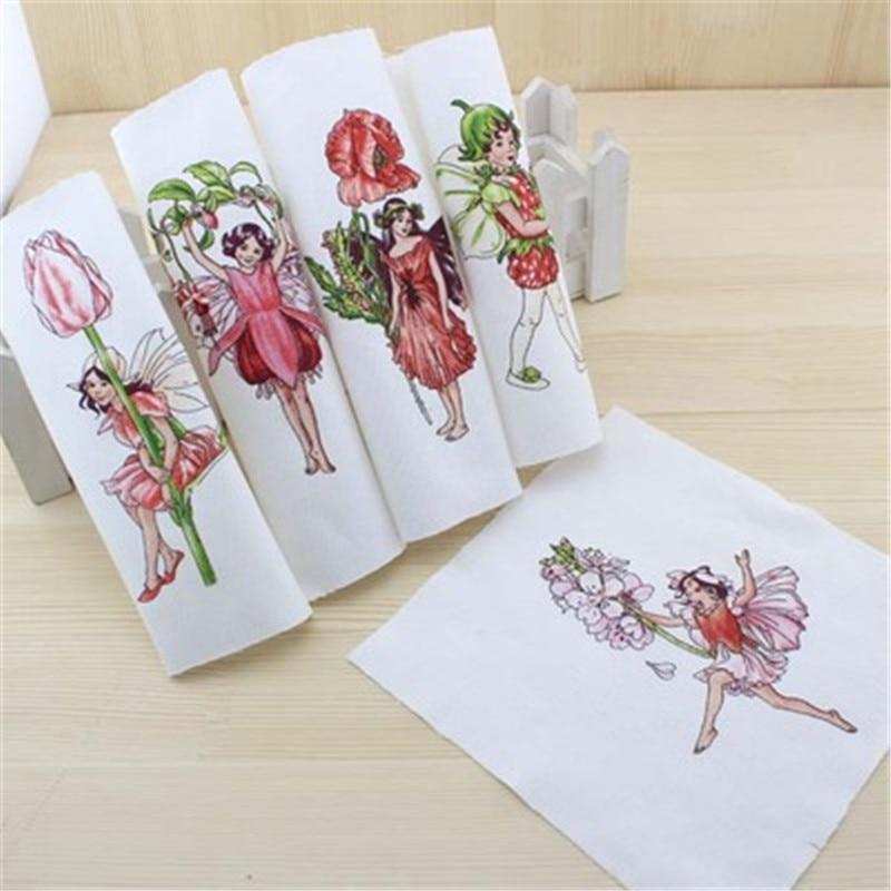 5 unids/set16x16cm teñidos A Mano letra pequeña flor de hadas cortina DIY Equipa