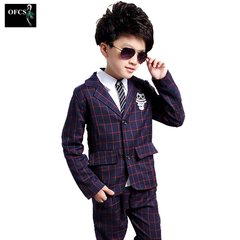 Kids Baby Boy Clothes Formal Wedding Suit Plaid Jackets Pants Set Children Costume Boys Clothing Vetement Enfant Ensemble Garcon