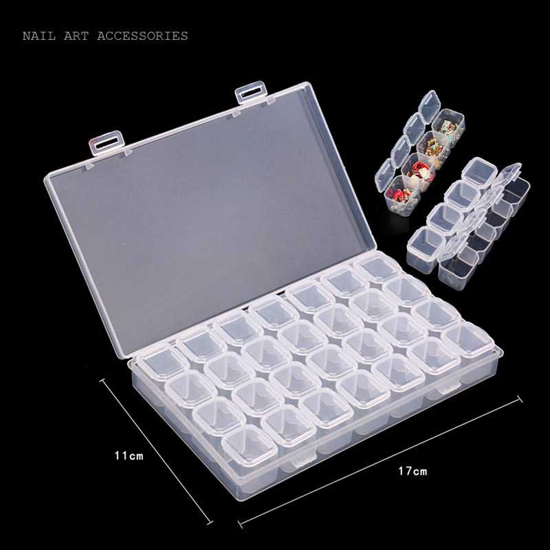 Nail Art Organizer: 28 Slots Nail Art Storage Box Plastic Transparent Display