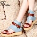 Женские летние сандалии случайные med каблуки туфли на платформе дамы джинсовые лодыжки ремень обувь новый стиль заклепки пряжки обувь размер 33-43